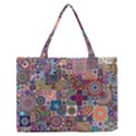 Ornamental Mosaic Background Medium Zipper Tote Bag View1