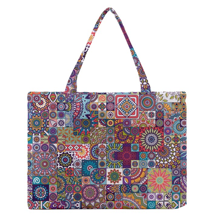 Ornamental Mosaic Background Medium Zipper Tote Bag