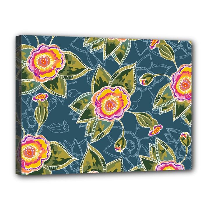 Floral Fantsy Pattern Canvas 16  x 12