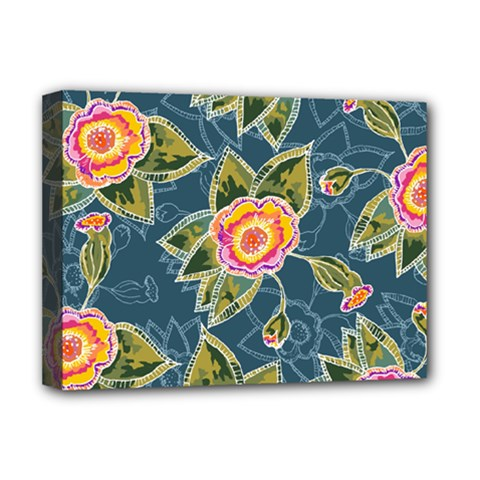 Floral Fantsy Pattern Deluxe Canvas 16  X 12   by DanaeStudio