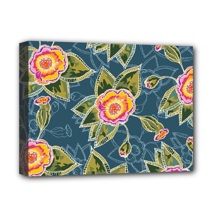 Floral Fantsy Pattern Deluxe Canvas 16  x 12