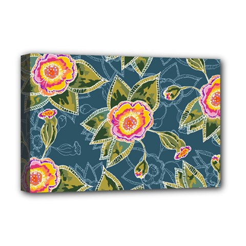 Floral Fantsy Pattern Deluxe Canvas 18  X 12   by DanaeStudio