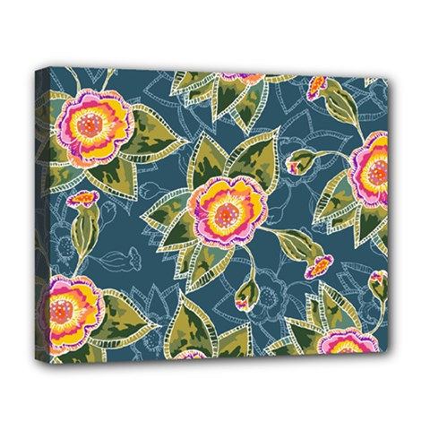 Floral Fantsy Pattern Deluxe Canvas 20  X 16   by DanaeStudio