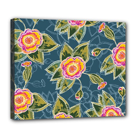 Floral Fantsy Pattern Deluxe Canvas 24  X 20   by DanaeStudio