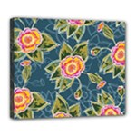 Floral Fantsy Pattern Deluxe Canvas 24  x 20