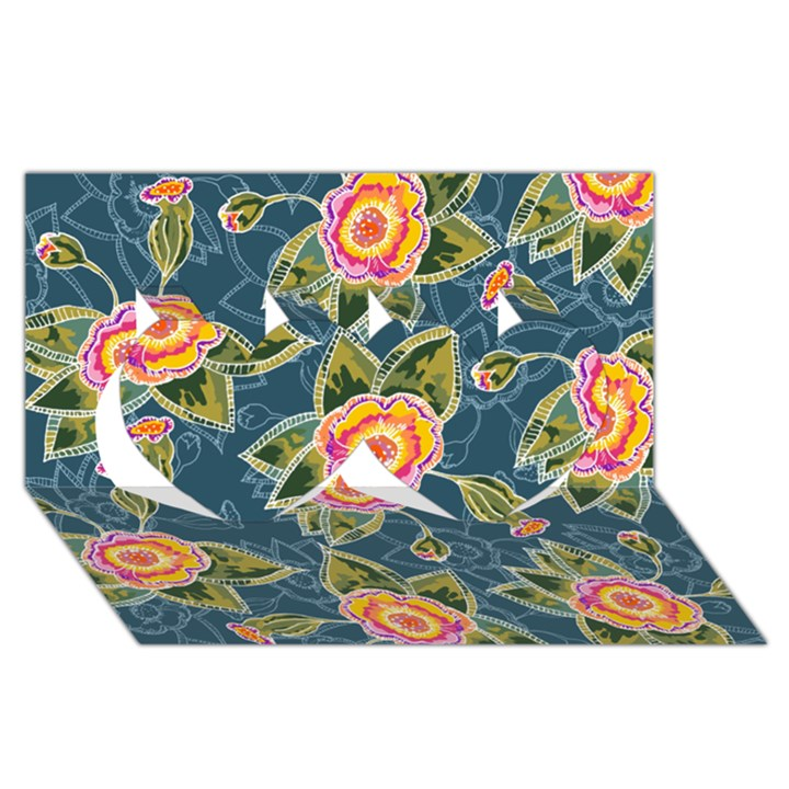 Floral Fantsy Pattern Twin Hearts 3D Greeting Card (8x4)