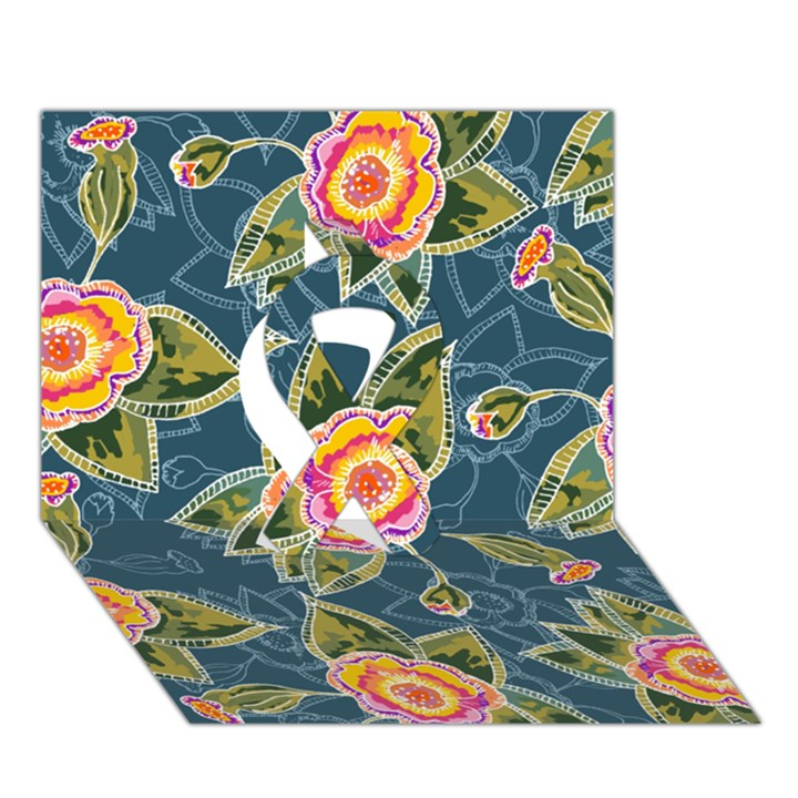 Floral Fantsy Pattern Ribbon 3D Greeting Card (7x5)