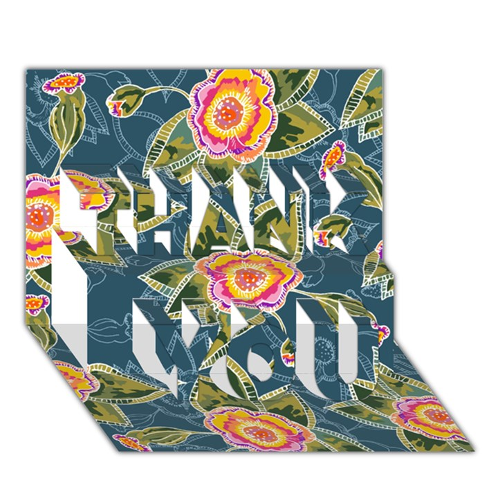 Floral Fantsy Pattern THANK YOU 3D Greeting Card (7x5)