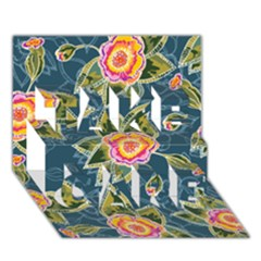 Floral Fantsy Pattern Take Care 3d Greeting Card (7x5) by DanaeStudio