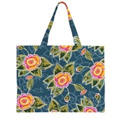 Floral Fantsy Pattern Zipper Large Tote Bag