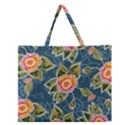Floral Fantsy Pattern Zipper Large Tote Bag View1