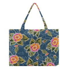 Floral Fantsy Pattern Medium Tote Bag by DanaeStudio