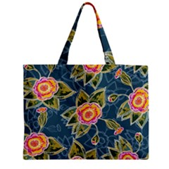 Floral Fantsy Pattern Medium Zipper Tote Bag by DanaeStudio