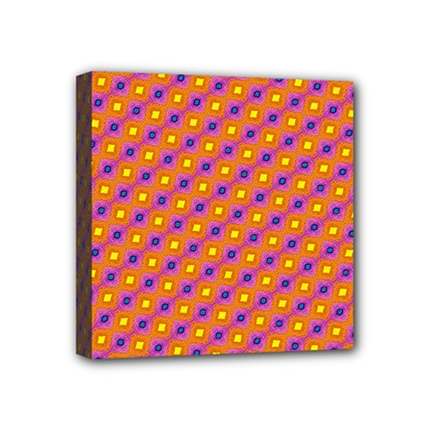 Vibrant Retro Diamond Pattern Mini Canvas 4  x 4
