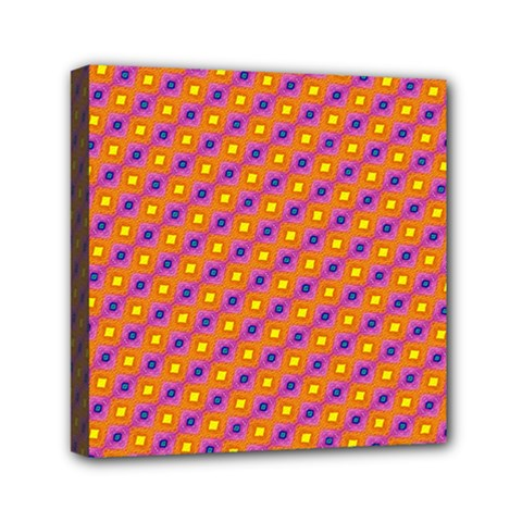 Vibrant Retro Diamond Pattern Mini Canvas 6  x 6