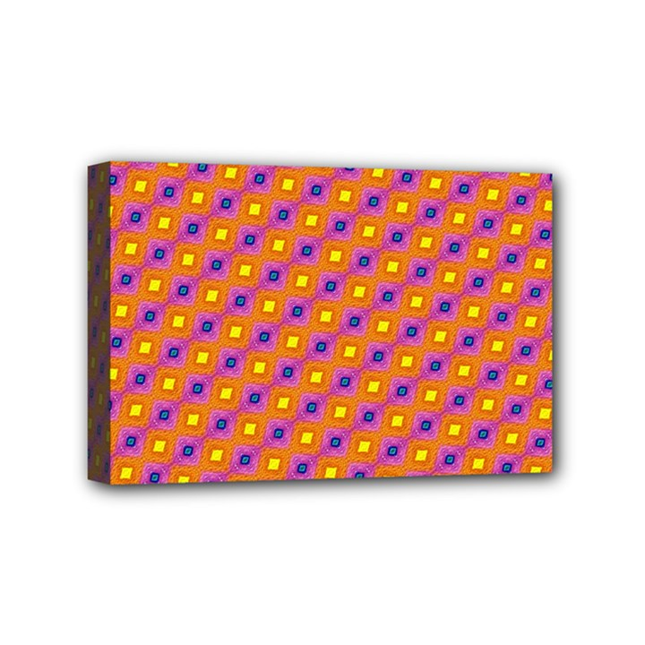 Vibrant Retro Diamond Pattern Mini Canvas 6  x 4