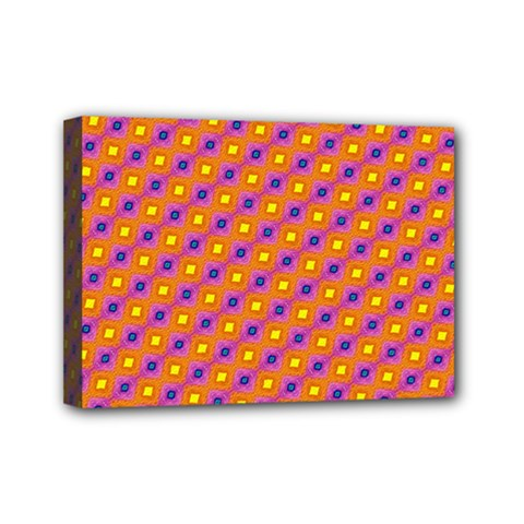 Vibrant Retro Diamond Pattern Mini Canvas 7  X 5  by DanaeStudio