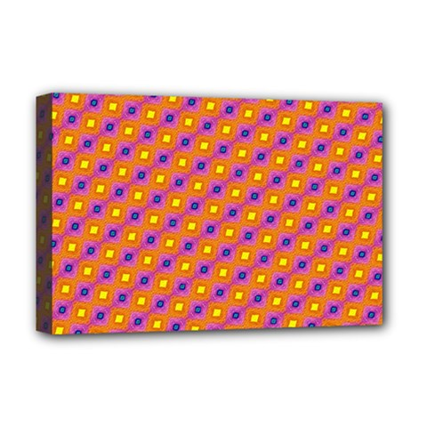 Vibrant Retro Diamond Pattern Deluxe Canvas 18  x 12