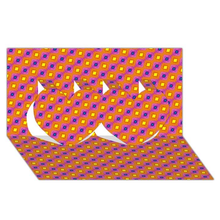 Vibrant Retro Diamond Pattern Twin Hearts 3D Greeting Card (8x4)