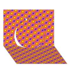 Vibrant Retro Diamond Pattern Circle 3d Greeting Card (7x5)