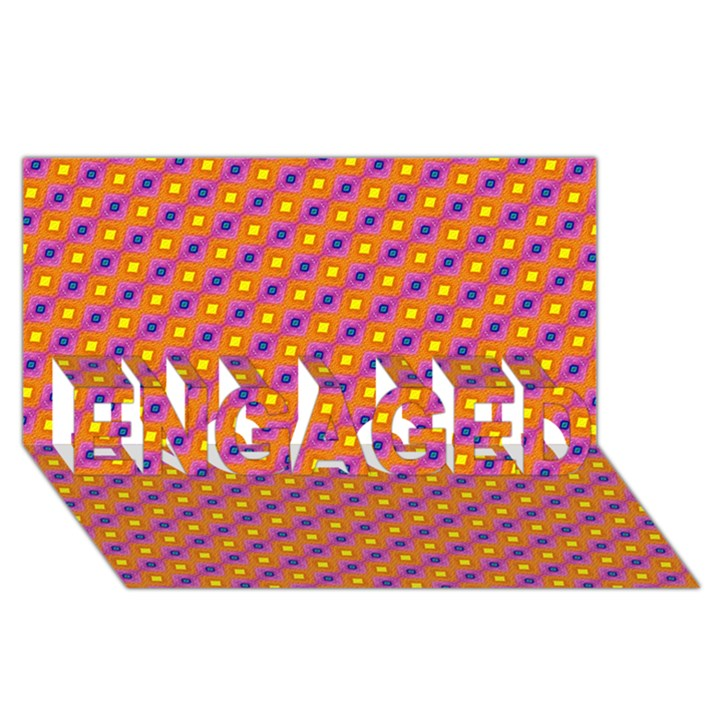 Vibrant Retro Diamond Pattern ENGAGED 3D Greeting Card (8x4)