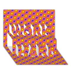 Vibrant Retro Diamond Pattern Work Hard 3d Greeting Card (7x5)
