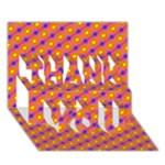 Vibrant Retro Diamond Pattern THANK YOU 3D Greeting Card (7x5)