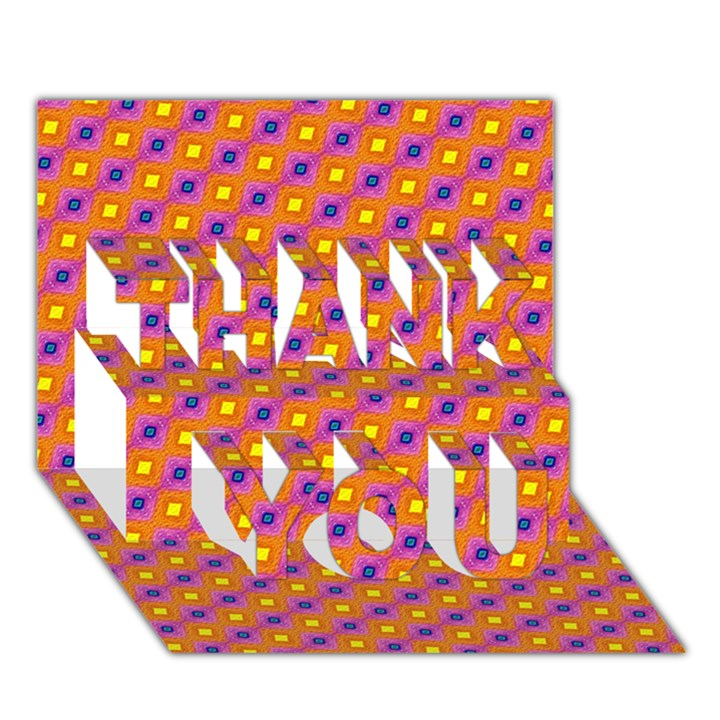 Vibrant Retro Diamond Pattern THANK YOU 3D Greeting Card (7x5)