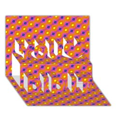Vibrant Retro Diamond Pattern You Did It 3d Greeting Card (7x5) by DanaeStudio