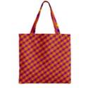 Vibrant Retro Diamond Pattern Zipper Grocery Tote Bag View1