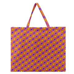 Vibrant Retro Diamond Pattern Zipper Large Tote Bag