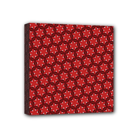 Red Passion Floral Pattern Mini Canvas 4  X 4  by DanaeStudio