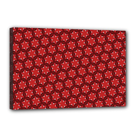 Red Passion Floral Pattern Canvas 18  X 12  by DanaeStudio