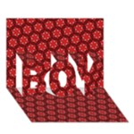Red Passion Floral Pattern BOY 3D Greeting Card (7x5)
