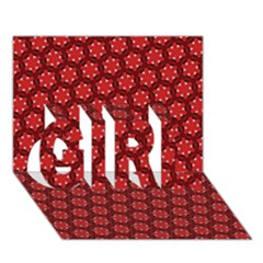 Red Passion Floral Pattern Girl 3d Greeting Card (7x5)