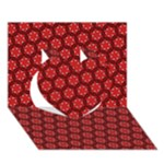 Red Passion Floral Pattern Heart 3D Greeting Card (7x5)