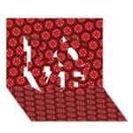 Red Passion Floral Pattern LOVE 3D Greeting Card (7x5)
