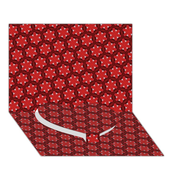 Red Passion Floral Pattern Heart Bottom 3D Greeting Card (7x5)