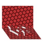 Red Passion Floral Pattern LOVE Bottom 3D Greeting Card (7x5)