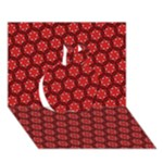Red Passion Floral Pattern Apple 3D Greeting Card (7x5)