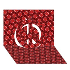 Red Passion Floral Pattern Peace Sign 3d Greeting Card (7x5) by DanaeStudio