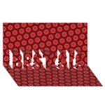 Red Passion Floral Pattern BEST SIS 3D Greeting Card (8x4)