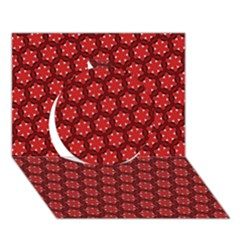 Red Passion Floral Pattern Circle 3d Greeting Card (7x5) by DanaeStudio