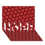 Red Passion Floral Pattern HOPE 3D Greeting Card (7x5)
