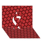 Red Passion Floral Pattern Ribbon 3D Greeting Card (7x5)
