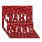 Red Passion Floral Pattern TAKE CARE 3D Greeting Card (7x5)
