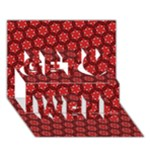 Red Passion Floral Pattern Get Well 3D Greeting Card (7x5)