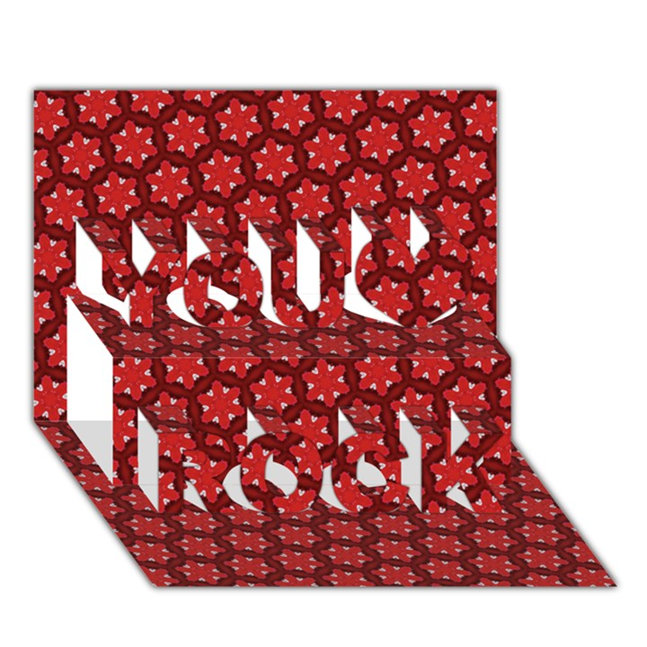 Red Passion Floral Pattern You Rock 3D Greeting Card (7x5)