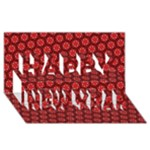 Red Passion Floral Pattern Happy New Year 3D Greeting Card (8x4)