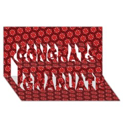 Red Passion Floral Pattern Congrats Graduate 3d Greeting Card (8x4) by DanaeStudio